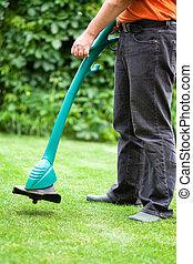 fauchage pelouse, herbe, homme, chevêtre