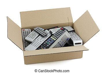 In a cardboard industry box are old faulty broken audio and video remote controls. Devices are prepared for recycling on garbage. All logos and trademarks is removed. There are only standard mass text and symbols modes and functions.
