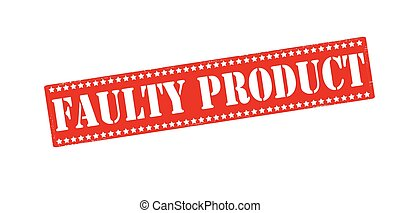 Rubber stamp with text faulty product inside, vector illustration