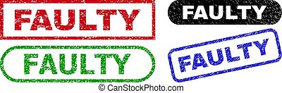 FAULTY grunge watermarks. Flat vector textured stamps with FAULTY tag inside different rectangle and rounded frames, in blue, red, green, black color variants. Watermarks with grunge style.