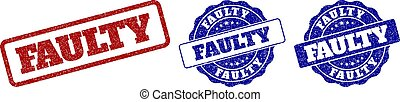 FAULTY grunge stamp seals in red and blue colors. Vector FAULTY signs with grunge surface. Graphic elements are rounded rectangles, rosettes, circles and text captions.
