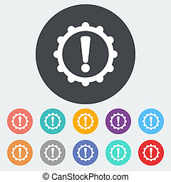 Faulty transmission. Single flat icon on the circle. Vector illustration.