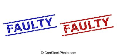 Blue and red FAULTY seal stamps on a white background. Flat vector distress seal stamps with FAULTY caption between parallel lines. Watermarks with distress style.