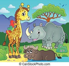 fauna, 2, tema, imagen, africano