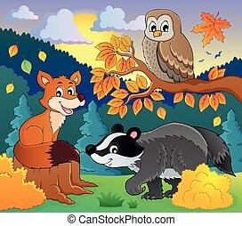 fauna, 2, tema, immagine, foresta