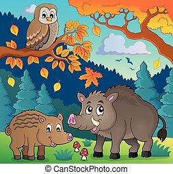 fauna, 5, tema, imagen, bosque
