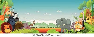 fauna, africano, animales, plano de fondo