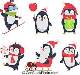 fauna, animali, inverno, pinguino, atteggiarsi, characters., vettore, vario, azione, disegno, illustrazioni, cartone animato, mascotte