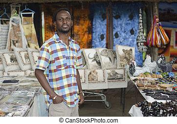 fauna, artículos, vendedor, africano, vendedor, curiosidad, frente