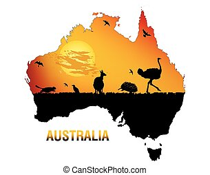 The mainland Australia, vector art illustration fauna of Australia.