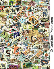 Fauna - background of postage stamps