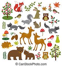 fauna, bosque, clipart