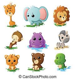 fauna, cartone animato, icone animali