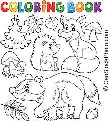 fauna, colorido, 1, tema, libro, bosque