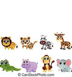 fauna, desenhos animados, animal