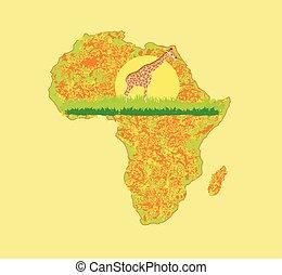 fauna, flora, grunge, fondo, africano