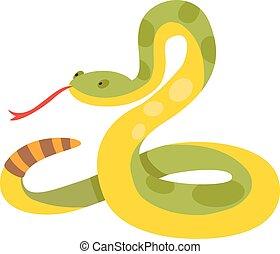fauna, illustration., goud, natuur, python, reticulated, albino, vector, slang, boa constrictor