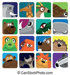 fauna, jogo, animais, ícone