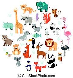 fauna, jogo, animais, caricatura