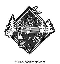fauna, natura, foresta, illustrazione, montagne