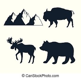 fauna, set, avontuur