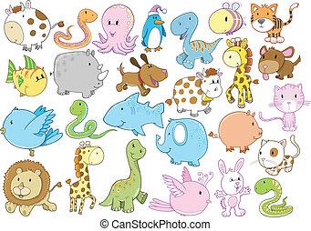 fauna, vetorial, jogo, animal