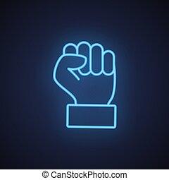 faust, hand, linie, neon, angehoben, gebärde, ikone, blaues