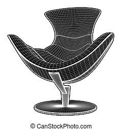 fauteuil, 26.eps, vecteur, moderne
