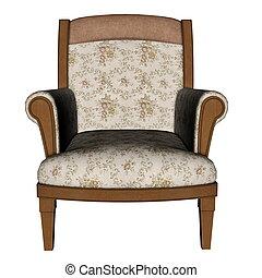 fauteuil, ancien, -, render, 3d