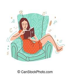 fauteuil, assied, book., girl, lit