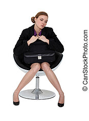 fauteuil, attente, candidat, timide