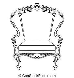 fauteuil, baroque, rococo, fabuleux, riche