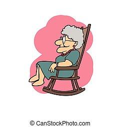 fauteuil bascule, dessins animés, grand-maman