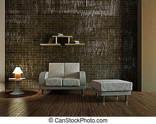 fauteuil, blanc, livingroom