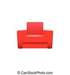 fauteuil, blanc, vecteur, isolé, fond