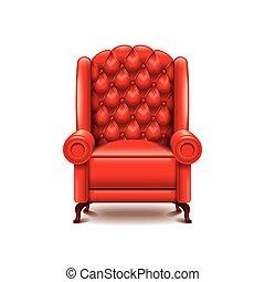 fauteuil, blanc, vecteur, isolé, rouges