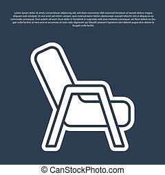 fauteuil, bleu, vecteur, icône, isolé, ligne, arrière-plan.