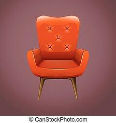 fauteuil bois, jambes, rouges