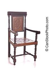 fauteuil, bois, noir