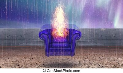 fauteuil, brûlé, vide