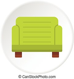 fauteuil, cercle, vert, icône