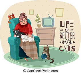 fauteuil, chats, dame, illustration
