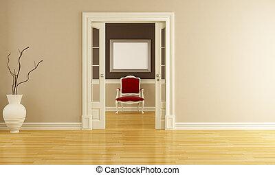 fauteuil, classique, rouges, intérieur
