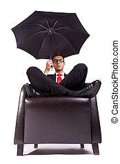 fauteuil, confortable, parapluie, séance homme