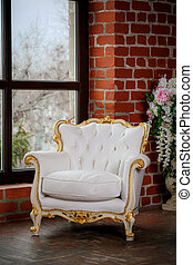 fauteuil cuir, blanc, fenêtre