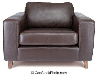 fauteuil cuir, isolé, blanc, à, attachant voie accès