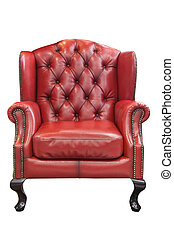 fauteuil cuir, isolé, rouges, luxe