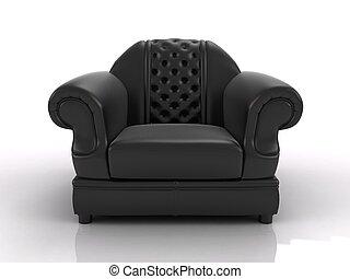 fauteuil cuir, noir