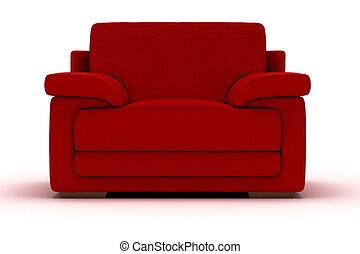fauteuil cuir, rouges