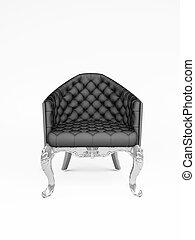 fauteuil cuir, sur, isoler, noir, blanc
